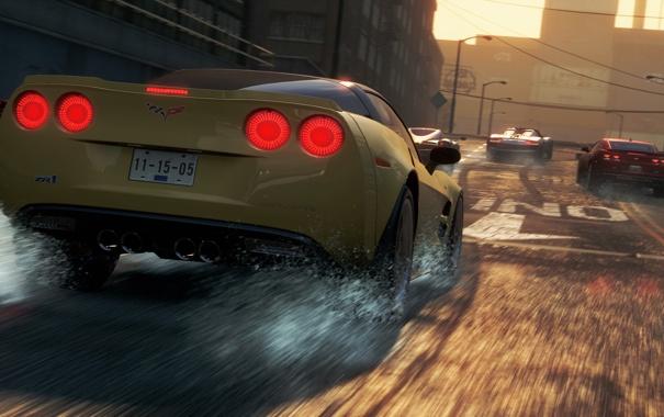 Фото обои город, гонка, chevrolet corvette, need for speed most wanted 2, супркары