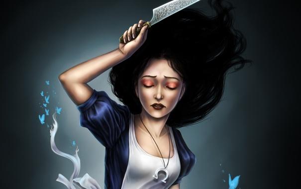 Фото обои бабочки, игра, Алиса, нож, Alice Madness Returns