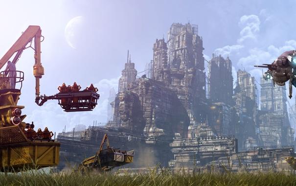 Фото обои небо, трава, деревья, город, будущее, корабли, техника