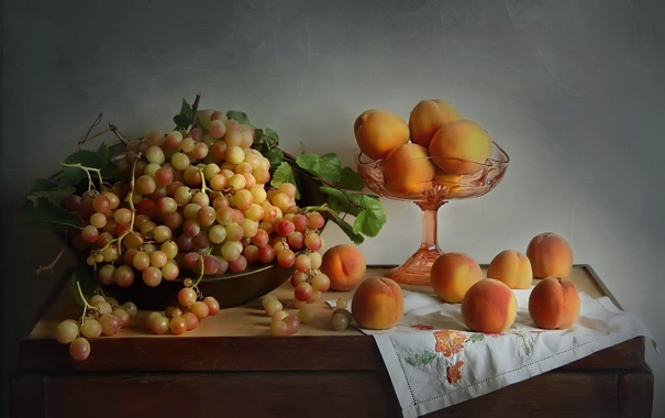 Фото обои осень, виноград, натюрморт, персики, натюрморт с фруктами