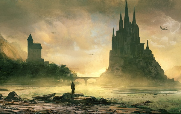 Фото обои мост, река, замок, человек, драконы, лодки, арт