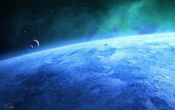 Фото обои космос, синева, планета, пыль, большая, свет, planet