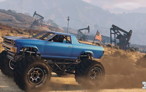 Фото обои дорога, машина, монстер, Тревор, Grand Theft Auto 5