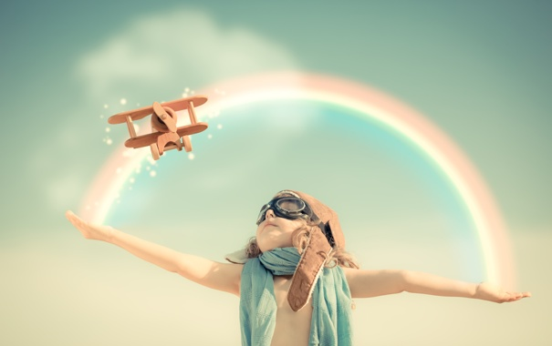 Фото обои лётчик, небо, самолёт, игра, игрушка, ребёнок, радуга