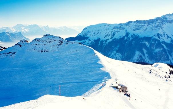 Фото обои зима, лес, небо, снег, пейзаж, горы, природа