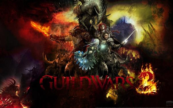Фото обои арт, текстура, guild wars 2, войны, монстры