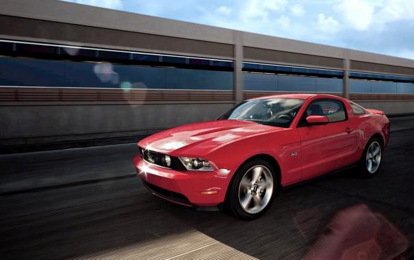 Фото обои красный, скорость, shelby, gt 500