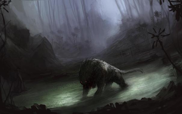 Фото обои лес, вода, туман, болото, монстр, чаща, арт