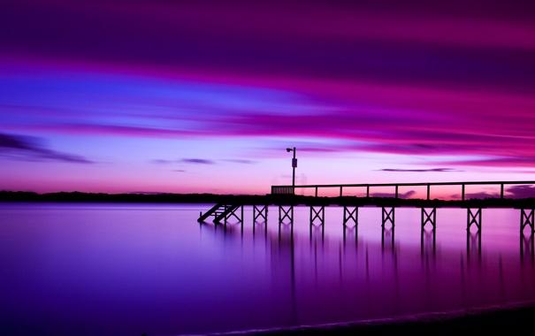Фото обои море, небо, закат, пирс, призраки