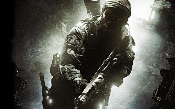 Фото обои мужик, солдат, нож, автомат, Call of Duty, Black Ops