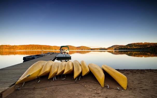Фото обои пейзаж, озеро, лодки