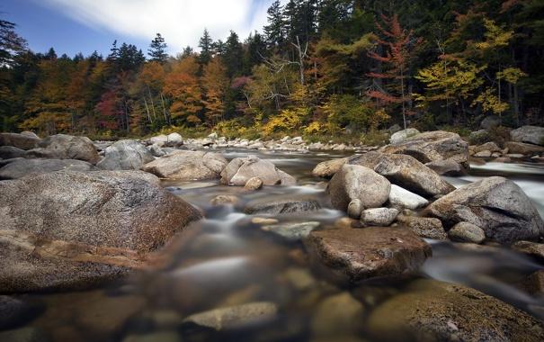 Фото обои осень, пейзаж, река, камни