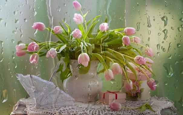 Фото обои цветы, тюльпаны, натюрморт
