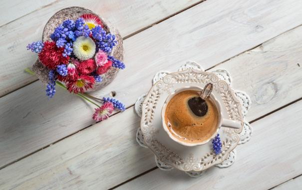Фото обои цветы, кофе, чашка