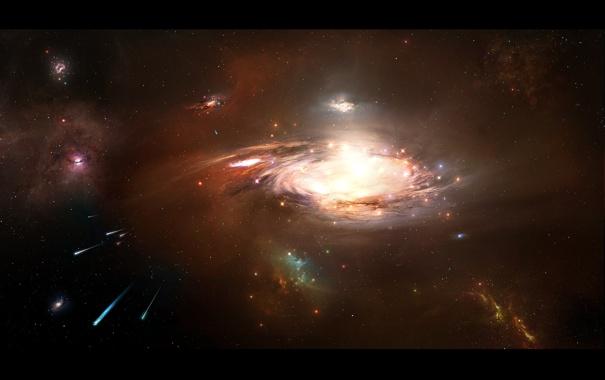 Фото обои спираль, кометы, галактика