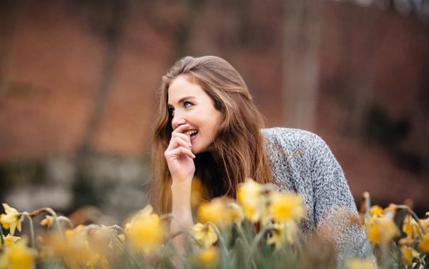 Фото обои девушка, лицо, улыбка, David Olkarny