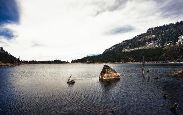 Фото обои Сичан, A Glacier Lake in Xichang, облака, вода, Озеро, China, Китай