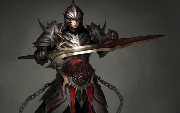 Фото обои девушка, меч, воин, арт, шлем, броня, доспех