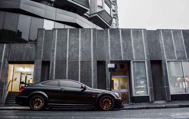 Фото обои черный, тюнинг, Mercedes-Benz, мерседес, AMG, бенз, Black Series