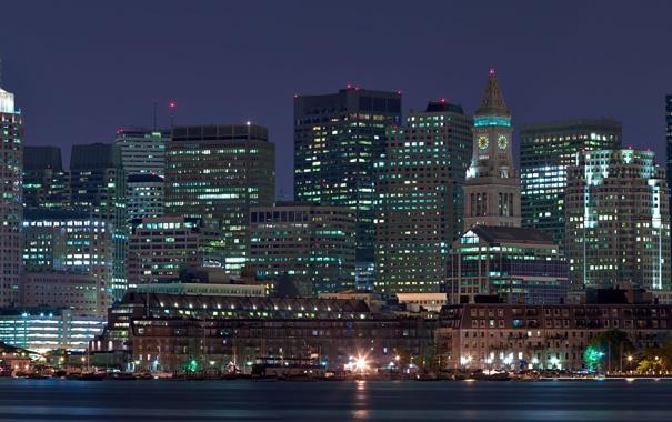 Фото обои ночь, город, огни, панорама