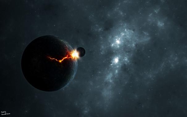 Фото обои катастрофа, удар, объект, космический, трещина
