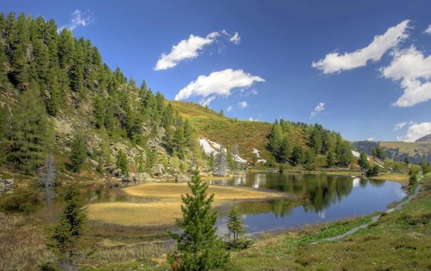 Фото обои лес, горы, озеро, холмы, берег, Природа, водоем
