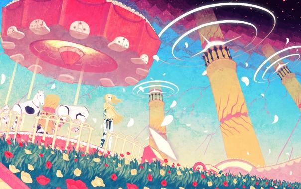 Фото обои цветы, ветер, рисунок, лошади, девочка, аттракционы, карусель