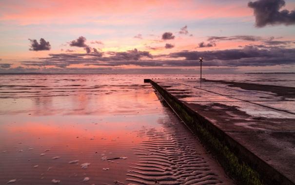 Фото обои закат, пейзаж, море