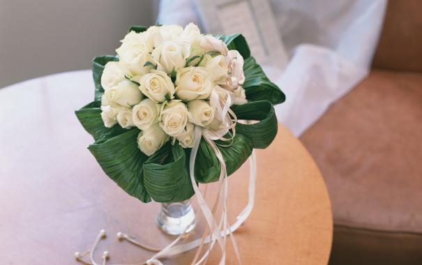 Фото обои цветы, розы, букет, белые, свадебный