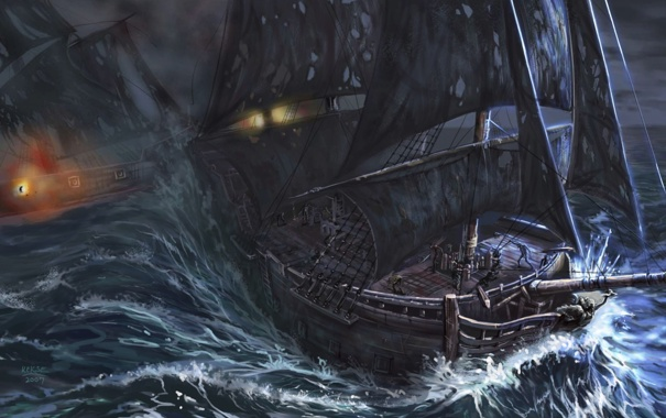 Фото обои море, корабли, арт, битва, парусники