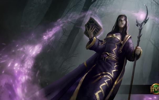Фото обои девушка, смерть, книга, посох, Heroes of Newerth, Martyr, Sister Death