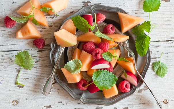 Фото обои ягоды, малина, фрукты, персики, фруктовый салат