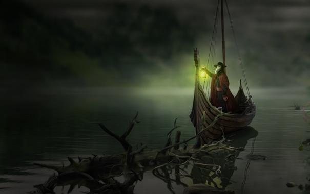 Фото обои свет, озеро, Лодка, фэнтези, арт, фонарь, Чумной доктор