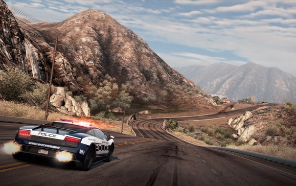 Фото обои горы, трасса, полиция, Lamborghini, шоссе, Need for Speed Hot Pursuit