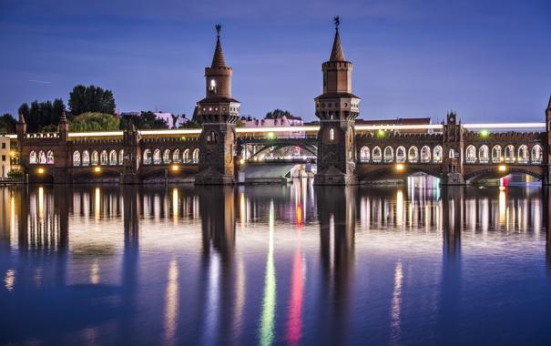 Фото обои небо, мост, city, город, lights, огни, отражение