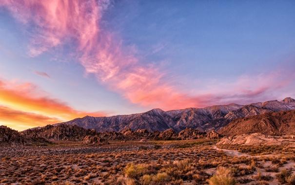 Фото обои закат, горы, природа, пустыня