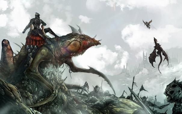 Фото обои дракон, монстр, арт, пегас, нежить