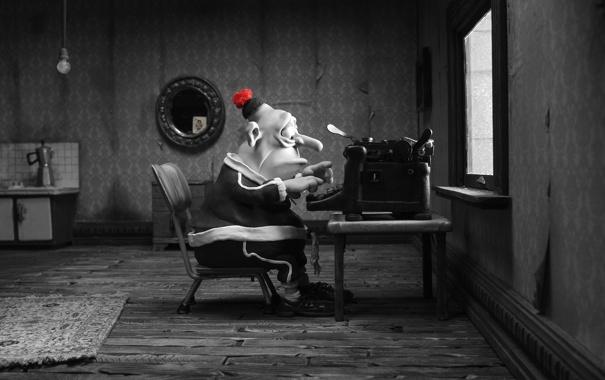 Фото обои мультфильм, мужик, пластилиновый, мэри и макс, печатает на машинке