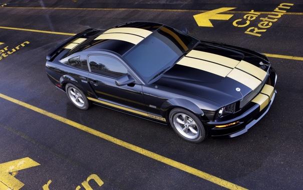 Фото обои чёрный, Mustang, ford
