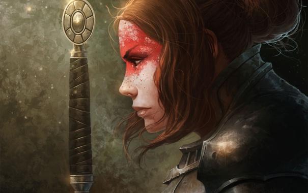 Фото обои девушка, меч, арт, профиль, раскраска, рукоятка, доспех