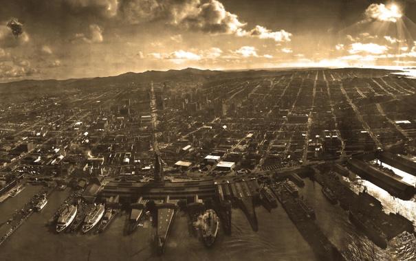 Фото обои Порт, Город, Корабли