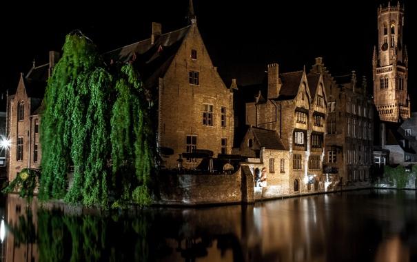 Фото обои ночь, огни, дома, канал, Бельгия, Bruges