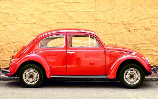 Фото обои машина, фон, стена, volkswagen, красная, желтая, beetle