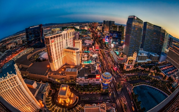 Фото обои Невада, здания, ночной город, панорама, Las Vegas, Лас-Вегас, Nevada