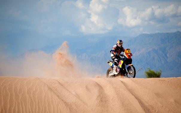 Фото обои небо, Песок, день, Мотоцикл, Мото, Rally, Dakar