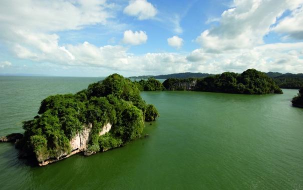 Фото обои зелень, небо, острова, океан, растительность, горизонт