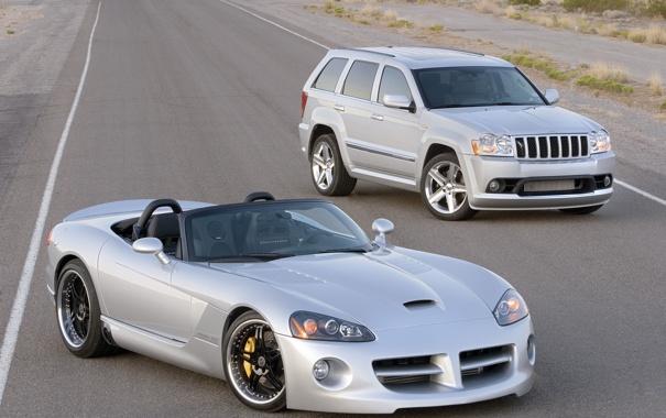 Фото обои дорога, джип, внедорожник, суперкар, кабриолет, viper, dodge