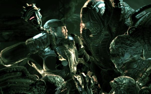 Фото обои воин, чудовище, gears of war, схватка