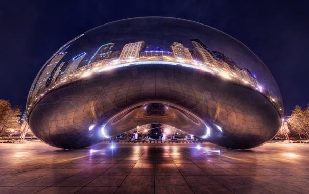 Фото обои город, вечер, Чикаго, монумент