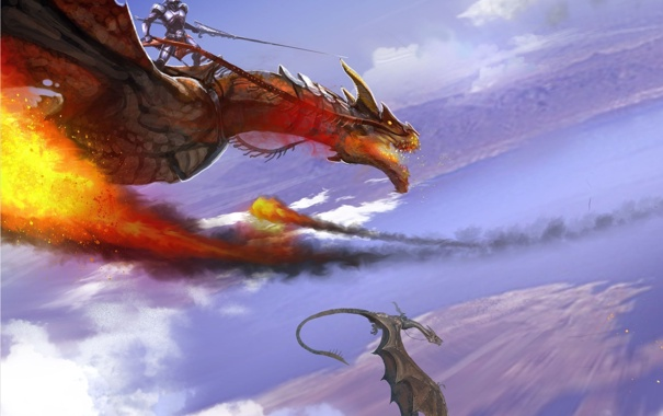 Фото обои облака, полет, пламя, Дракон, воин, наездник